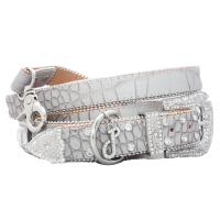Glam Rock Croc Leather Collar And Lead Set