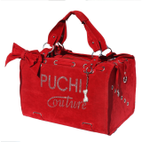 Puchi Couture Pet Carrier in Scarlet Red Suede