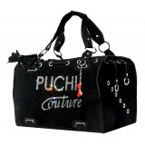 Puchi Couture Pet Carrier in Black Suede
