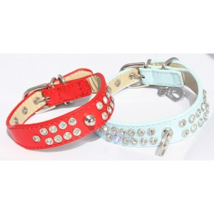 "Red Diamante Dog Collar -  Small (9"" - 11"")"