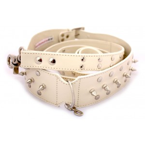 Gladiator Glam Collar and Lead Set in Cream