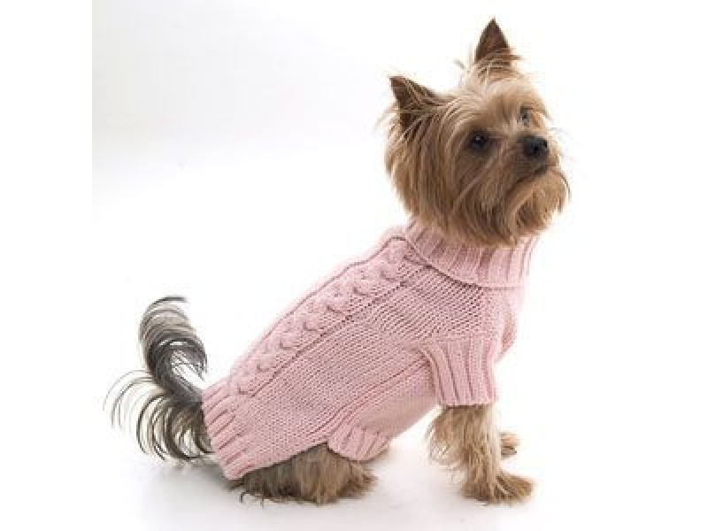 Peach cable snug dog pullover puchi petwear designer Dog clothes design your own