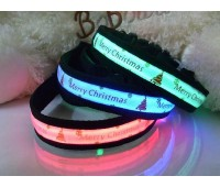 Merry Christmas LED Flashing or Static Dog Collar