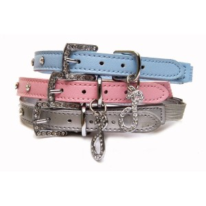 Glamour Leather Diamante Cat Collars