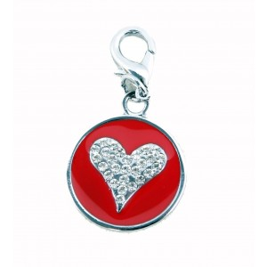 Starry Eyed Heart dog or cat Tag in Red