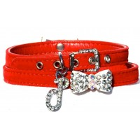 Velvet Bow Dog collar in Rouge