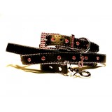 Monte Carlo collar and lead set in Vulcan Black with red diamantes